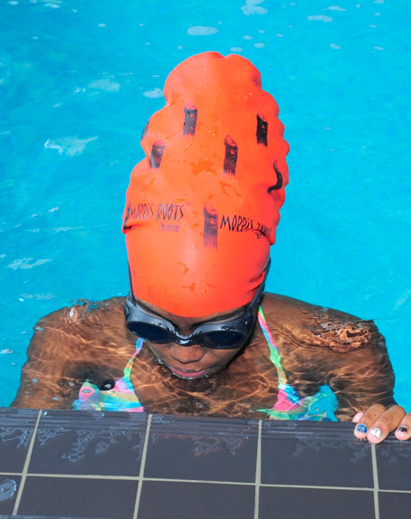 Red Morris Roots Swimming Cap